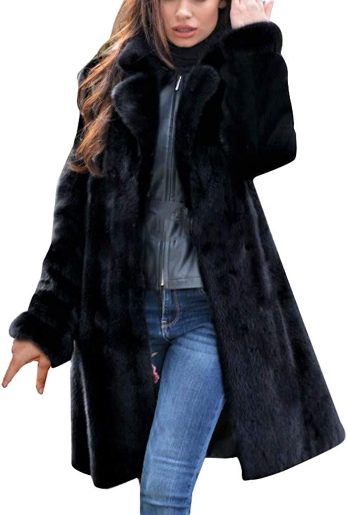 Forwelly Women Plus Size Thick Overcoat Fashion Solid Long Sleeve Long Faux Fur Jacket Open Front Cardigan Plush Coat