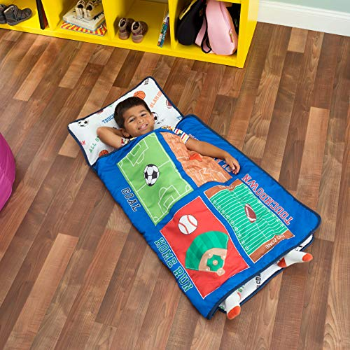 Everyday Kids Toddler Nap Mat with Removable Pillow -Fire Police Rescue- Carry Handle with Fastening Straps Closure, Rollup Design, Soft Microfiber for Preschool, Daycare, Sleeping Bag -Ages 2-6 years