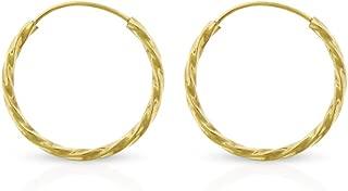 14k Yellow Gold Women's Endless Spiral Twist Tube Hoop Earrings 1.2mm Thick 12mm - 20mm