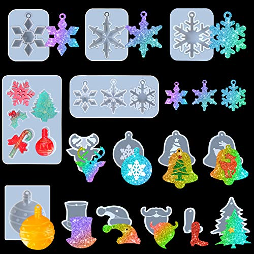 FEBSNOW 15PCS Christmas Silicone Mold Snowflake Bell Elk Xmas Pendant Keychain Tree Resin Molds for Christmas Home Party Decoration