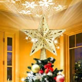 AHNNER Christmas Tree Topper, Star Tree Topper with Rotating LED Snowflake Projector...