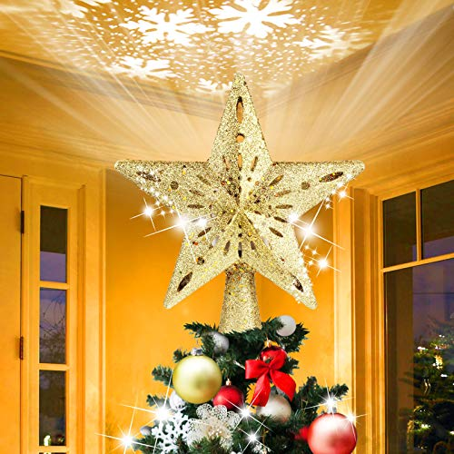 AHNNER Christmas Tree Topper, Star Tree Topper with Rotating LED Snowflake Projector Light, 3D Hollow Glitter Gold Lighted Tree Topper for Xmas Tree Decorations- Gold