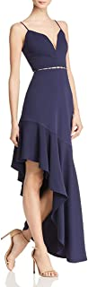 Womens Paula Embellished Hi-Low Evening Dress