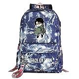 ZZGOO-LL Attack On Titan Eren Jaeger with Chain USB Anime Cosplay Bookbag College Bag Mochila Backpack Escolar Blue-E