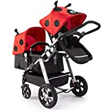 XYSQ Doppel Infant Kinderwagen, Zwillingskinderwagen Kinderwagen Im Vorderen Und Hinteren Sitzen, Leicht Zu Lagern EIN Zweiten Kinderwagen, Leichte Doppelkinderwagen Falteten (Color : Red)