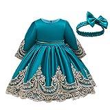 Vestido y falda para niñas, vestido de princesa de encaje para dama de honor, vestido de fiesta de cumpleaños, vestido de boda, vestido de niña de flores para bodas (azul de 6 a 12 meses)