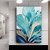 HSFFBHFBH Flor de Hoja Grande Splash Imagen de Arte de Pared Abstracto Lienzo Pintura Cartel impresión Arte de Pared imágenes decoración de la Sala de Estar 40x60cm Marco Interior