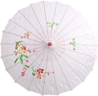 BESTOYARD Paraguas de Paraguas japonés Chino Tradicional para Bodas, Damas de Honor, Cosplay, sombrilla de Verano (Blanco)