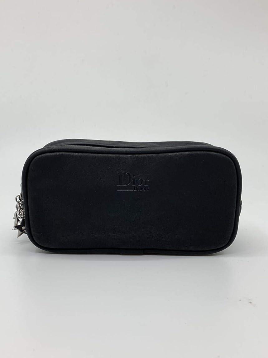 租界透明にヒップディオール コスメ ポーチ 非売品 正規品 ノベルティ ブラック 合皮 ロゴ