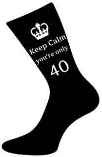 Mens Keep Calm You're Only 40 Black Socks 40th Birthday, Black, US Size 6-13