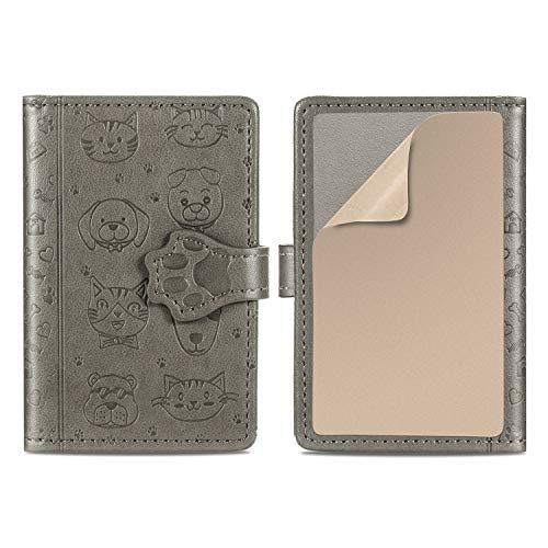 Suhctup Flip Card Holder ID/Stick-on Wallet de Piel Lindo Dibujos con Soporte para teléfono & Cierre Magnético & Ranuras para Tarjetas Billetero PU Adhesive 3M Mini Bolsa Adjunto para Celular(Gris)