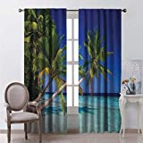 Toopeek Ocean Blackout Curtain Maldives Bay Paradise Resort Summer in Pacific Holiday Destinations 2 Panels W63 x L84 Inch Navy Blue Turquoise Green
