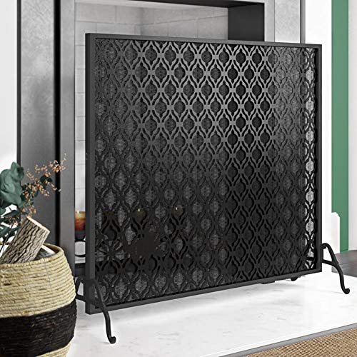 Best Price ZAQI Single Panel Fireplace Screen, Large Black Metal Fire Place, Standing Safety Spark G...