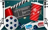 パーティー写真用HDシネマ背景フィルムロール3Dムービーグラス背景ムービーテーマパーティー背景装飾小道具7x5ftZYMT0428