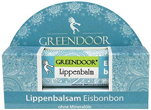 Greendoor Lippenbalsam Eisbonbon natürlicher Lippenpflege-Stift, BIO Jojobaöl Naturkosmetik Lippenbalm, Lip-Balm Natur Pflege für Lippen, Schutz gegen trockene Lippen Geschenke
