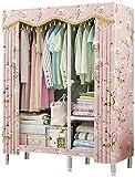 Armari Paño for Dormitorio, Estantería portátiles No empotrable almacenaje de la Ropa Organizador Adicional Stron y Duradero for los Zapatos Bordados, Flower_110x45x165cm Liuyu.