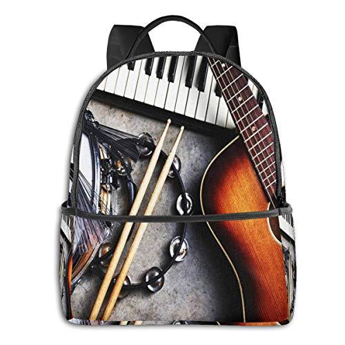 PEIGJH Mochilas Escolares Bolsa Daypack Mochila Tipo Casual para Niños y Niñas para Portátiles y Netbooks Instrumentos Musicales del Grupo de música