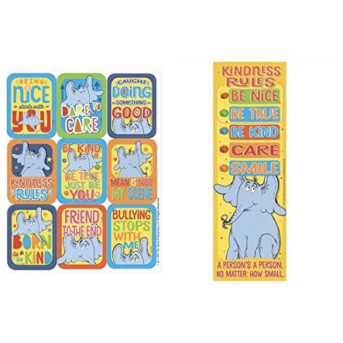 Dr Seuss HORTON Hears a Who KINDNESS - 36 Bookmarks 36 STICKERS Friendship - Classroom TEACHER Reading Rewards - BE NICE Kind FRIENDS No Bullying