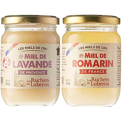 Les Ruchers du Luberon Miel de Lavande de Provence IGP/Label Rouge 340 g & Miel de Romarin de France 340 g