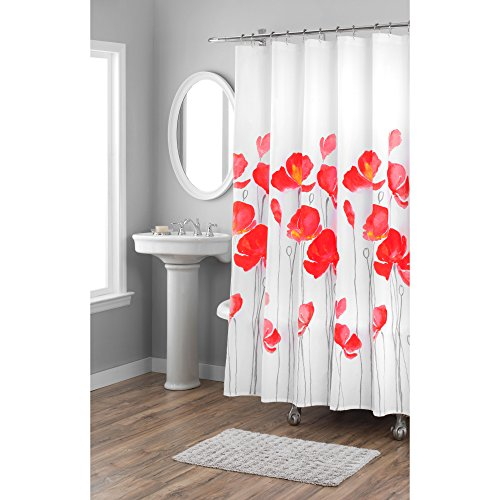"""Home Dynamix Nicole Miller Red Petunia 100% Cotton Fabric Shower Curtain, Standard 72""""X72"""", White/Red Bold Floral"""