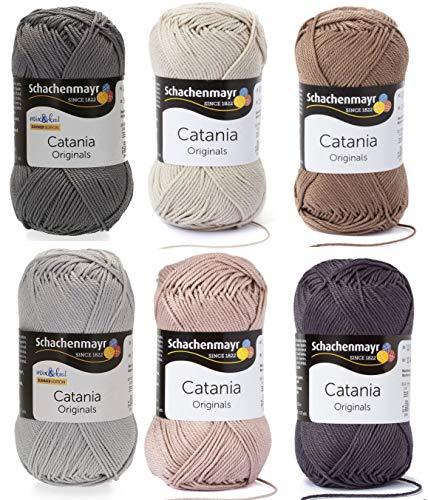 6x50 Gramm Schachenmayr Woll-Set Baumwollgarn Catania zum Stricken und Häkeln inkl. detallierter Anleitung für EIN Meerschweinchen (Grau Braun C50)