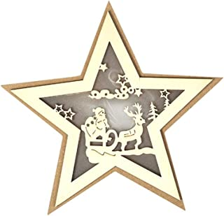 Cimaybeauty Wooden Five Pointed Star LED Lights Christmas Halloween Decoration Bedside Lamp