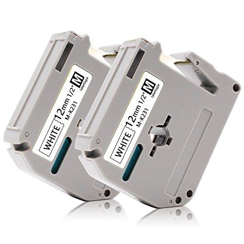 2x Labelwell 12mm 1/2 Kompatibel M Schriftband Ersatz für Brother MK-231 MK231 M-K231 MK231SBZ Nicht-Laminiert für P-touch PT-90 PT-M95 PT-80 PT-100 PT-110 PT-65 PT-70 PT-85 PT-BB4 Beschriftungsgerät
