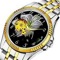 時計、機械式時計 メンズウォッチクラシックスタイルのメカニカルウォッチスケルトンステンレススチールタイムレスデザインメカニ (ゴールド)-667. 白いユリの花のように照らされた