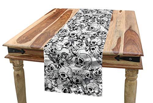 ABAKUHAUS Feier Tischläufer, Skizzieren Sie Totenkopf, Esszimmer Küche Rechteckiger Dekorativer Tischläufer, 40 x 180 cm, Weiß und Schwarz