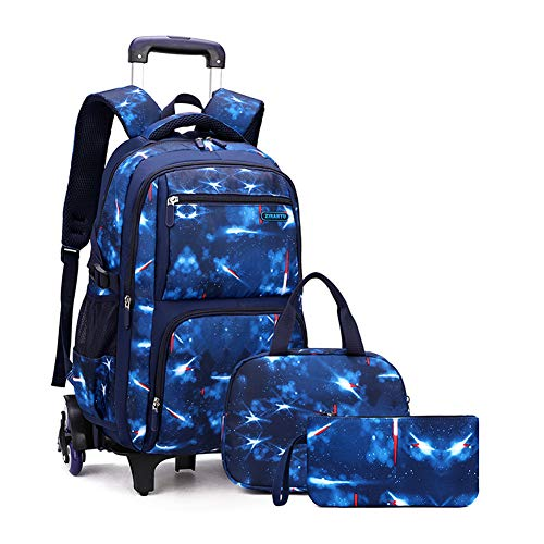 MITOWERMI Primary Junior High Boys Rolling Backpacks Wheeled Bags Trolley School Bags Travel Luggage 3 in 1 Kids Bookbag Set with Lunch Bag