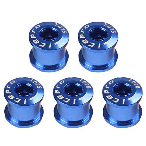 LYNKO Singlespeed Kettenblattschrauben M8 singlespeed 7075 Aluminumlegierung Kettenblatt-Schraub für MTB-Rennräder, Mountainbike, BMX, 5 Stück(Blau)