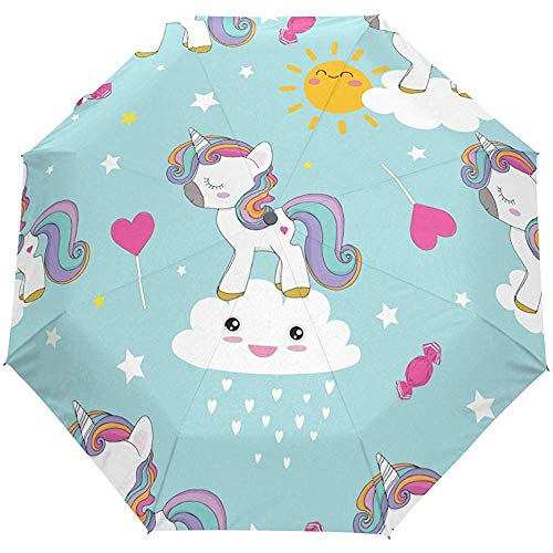 Niedliche Tierherz Regenbogen Auto Open Umbrella Sonnenregen Regenschirm Anti UV Folding Compact Automatic Umbrella