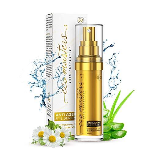 Sérum Visage Yeux 100% Naturel 30 ml Eco Masters Skin Perfection - Acide Hyaluronique + Thé Vert + Vitamine E - Triple actions – Toutes Peaux – Sans Sulfate ni Parabène - Flacon Recyclable