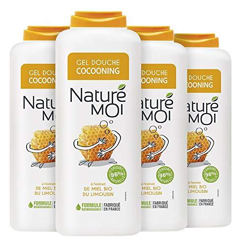 Naturé Moi – Crème douche cocooning à l'extrait de miel bio du Limousin – Hydrate et nourrit les peaux normales à sèches – Lot de 4 – 400ml