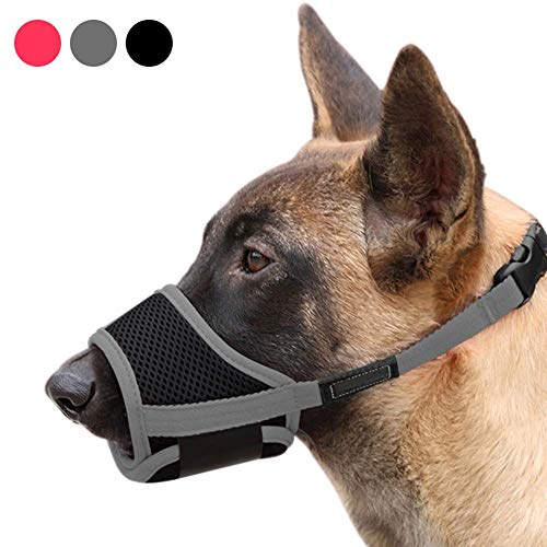 ABPF Dog Muzzles Anti-Biting-Barking,Soft Nylon Mesh Breathable Pets Mouth Cover,with Adjustable Loop Strap,for Small/Medium/Large Dog(M,Grey)