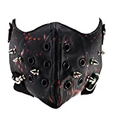 Steampunk Leather Halloween Mask Half Face Cosplay Mask Biker Men Mask Airsoft Wind Cool Punk Rivets Black Masquerade