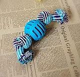 QYPT Petstages Juguetes for mascotas Suministros for mascotas 3 PCS for perros juguetes for masticar dientes limpios al aire libre Traning jugar de la diversión de la cuerda de la bola (azul)