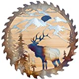Cut Hand Saw Blade Art, Dog and Elk Saw Blade Decoration Metal Art Ornaments for Home Furnishing, Metal Art Tree Wall Decoration, Wall Decoration, Retro and Rustic Appearance Ornaments, Unique Gifts for Father's Day (elk decoration 01)
