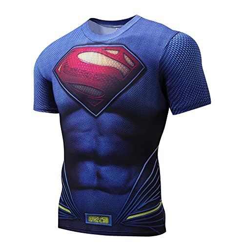 HAOWUTX Azul Superman compresión Camisa Fitness Correr Ropa Gimnasio Ciclismo Camiseta Manga Corta Medias capitán héroe Tema impresión (Talla : 160-164cm)