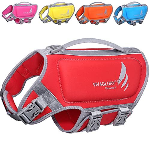 VIVAGLORY Skin-Friendly Neoprene Dog Life Vests for Swimming, Reflective Dog Life Jacket with Superior Buoyancy and Rescue Handle, Red, Medium
