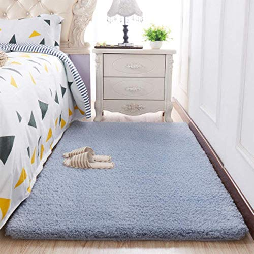 Soft Shaggy Area Rugs for Bedroom Fluffy Carpets Living Room Rugs Not-Slip Nursery Girls Kids Rugs for Bedside Indoor Floor Girls Pricess Room Home Decor Rugs,Grey Blue,50x160cm(20x63inch)