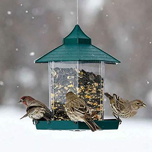 DEBEME Mangeoire à Oiseaux, Mangeoire à Graines pour Oiseaux Sauvages Suspendue, Mangeoire à Oiseaux De Jardin étanche Hexagonale De Grande Capacité 2,25 LB