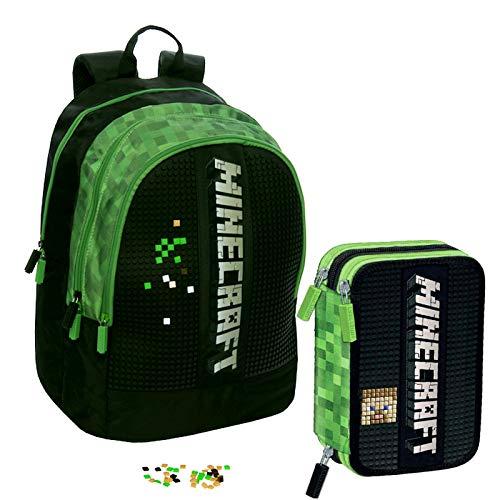 Minecraft Schoolpack Schulrucksack, Organizer, 3 Reißverschlüsse plus Federmäppchen mit 3 Reißverschlüssen