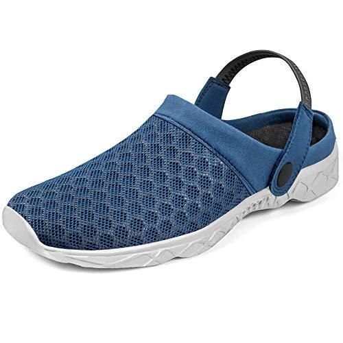 [Feetmat] サンダル メンズ サボ 自宅用 室内履き スリッパ 軽量 通気 オフィス 履き替え ルームシューズ メンズ クロッグサンダル サボサンダル ブルー グレー 25 cm