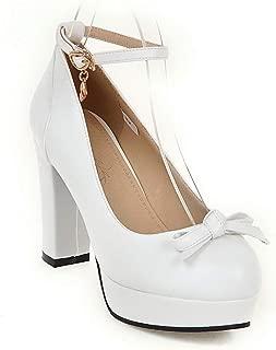 BalaMasa Womens Bows Platform Dress Urethane Pumps Shoes APL10511