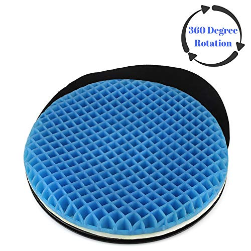 FOMI Premium Firm Swivel Gel Seat Cushion | 360 Degree Rotation | Round Thick Disc Pad for Home...