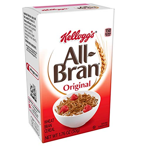 Kellogg's All-Bran, Breakfast Cereal, Original Wheat Bran, Excellent Source of Fiber, Single Serve, 1.76 oz Box(Pack of 70)