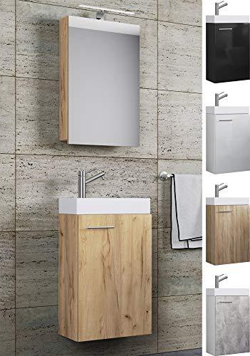VCM Waschplatz Waschbecken Schrank + Spiegelschrank WC Gäste Toilette Badmöbel klein schmal Slito Spiegelschrank Honig-Eiche