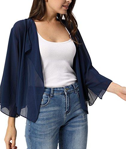 Women Sheer Chiffon Bolero Shrug Jacket Cardigan 3/4 Sleeve Navy Blue X-Large