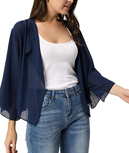 Women's Plus Size Shrug Open Front Bolero Cardigan Blouse Top Navy Blue 2X-Large